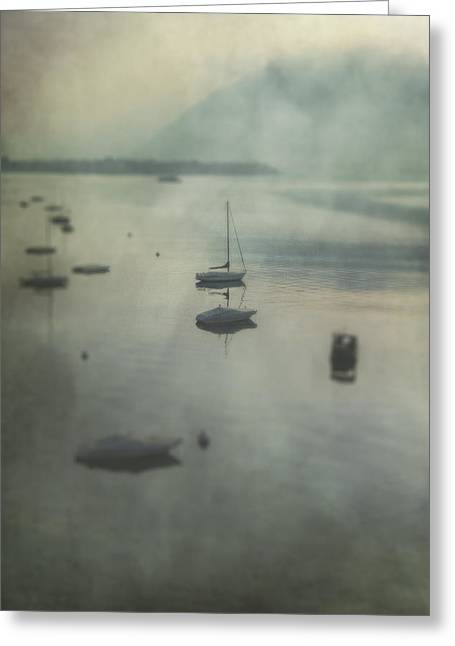 Haze Greeting Cards - Boats In Mist Greeting Card by Joana Kruse
