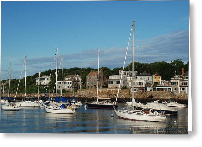Fishing Boats Greeting Cards - Boats in Rockport Massachusetts Greeting Card by Richard Bryce and Family