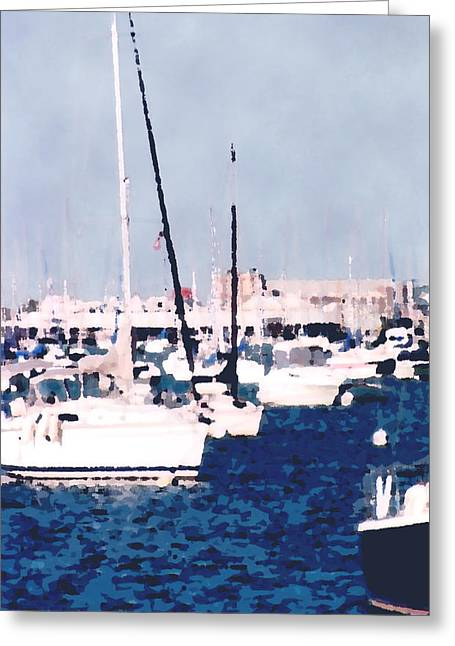Sailboats In Harbor Digital Art Greeting Cards - Boats in Summer  Greeting Card by Katriel Jean-Baptiste