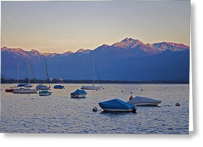 Lago Greeting Cards - Boats In The Evening Sun Greeting Card by Joana Kruse
