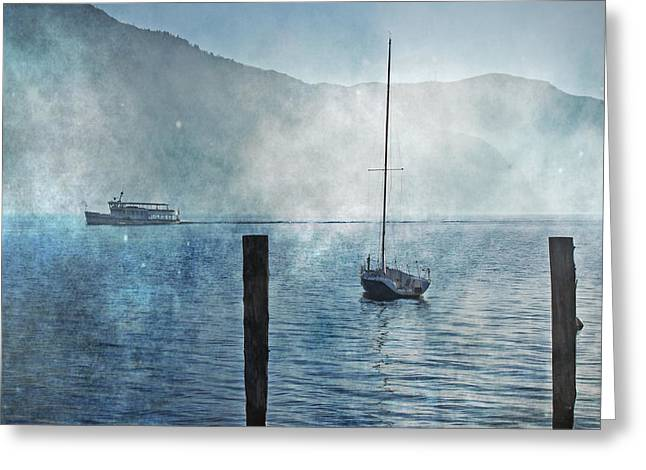 Sailing Boat Greeting Cards - Boats In The Fog Greeting Card by Joana Kruse