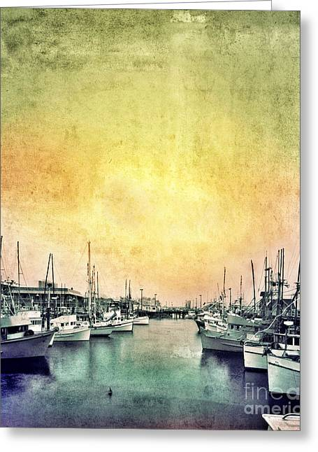 Docked Sailboat Greeting Cards - Boats in the Harbor Greeting Card by Jill Battaglia