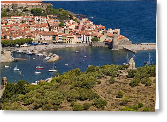Mediterranean Style Greeting Cards - Boats In The Harbor Of Collioure Greeting Card by Michael Melford