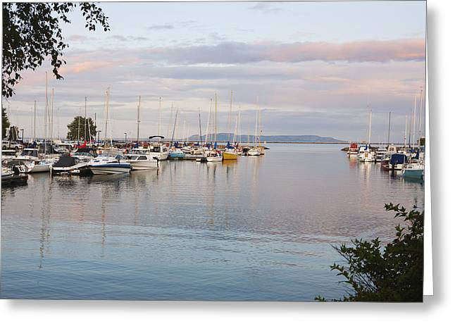 Boats In The Harbour At Sunset Thunder Greeting Card by Susan Dykstra