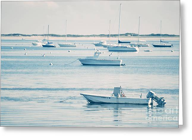 Provincetown Greeting Cards - Boats In The Ocean Greeting Card by HD Connelly
