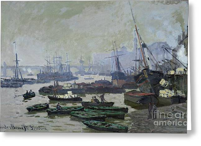 Yacht Basin Greeting Cards - Boats in the Pool of London Greeting Card by Claude Monet
