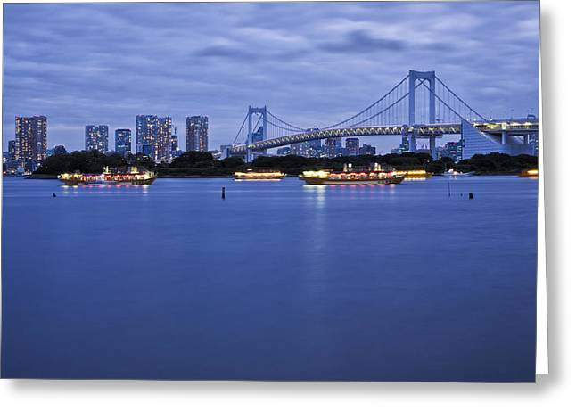 Man Made Space Greeting Cards - Boats In Tokyo Bay With Rainbow Bridge Greeting Card by Bryan Mullennix
