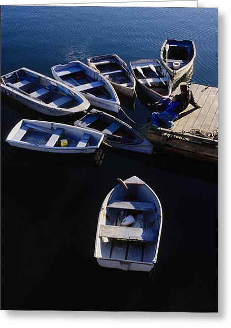 Docked Boat Greeting Cards - Boats moored at Dock Greeting Card by Steve Somerville