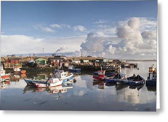 Overcast Day Greeting Cards - Boats Moored On The Water Along The Greeting Card by John Short