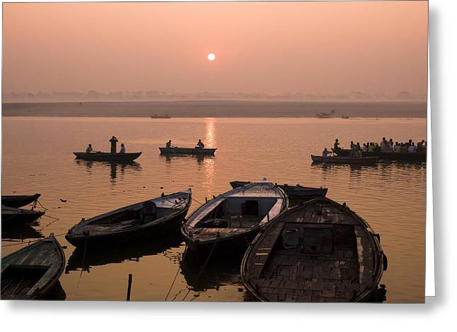 The Ganges Greeting Cards - Boats On Ganges River At Sunset Greeting Card by Keith Levit