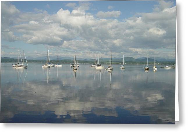 Reflecting Water Pyrography Greeting Cards - boats on Lake Champlain Greeting Card by Margrit Schlatter