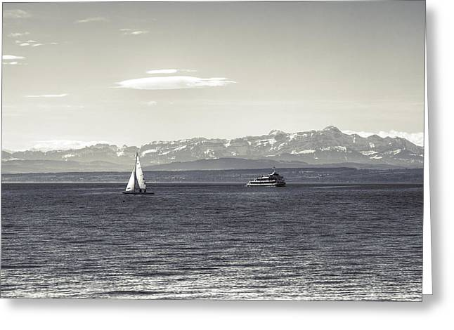 Ships And Boats Greeting Cards - boats on Lake Constance Greeting Card by Joana Kruse