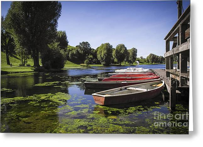Greeting Cards - Boats on Lake Greeting Card by Martin Dzurjanik