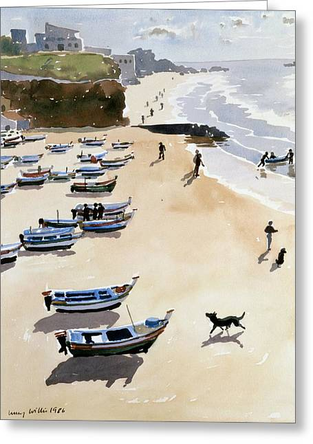 Dinghy Greeting Cards - Boats on the Beach Greeting Card by Lucy Willis