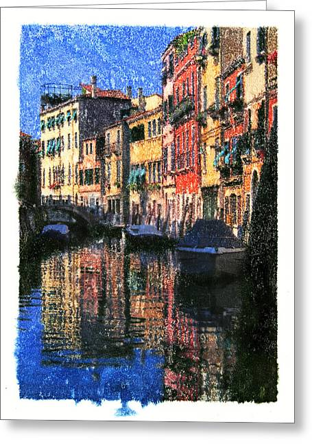 Boats In Water Mixed Media Greeting Cards - Boats Reflections in Venice Italy  Greeting Card by Zachary Balge