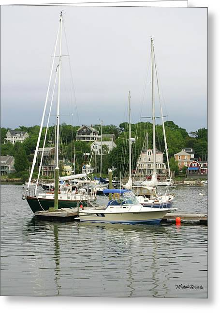 Sailboats Docked Photographs Greeting Cards - Boats Rocky Neck Art Colony Gloucester Massachusetts Greeting Card by Michelle Wiarda
