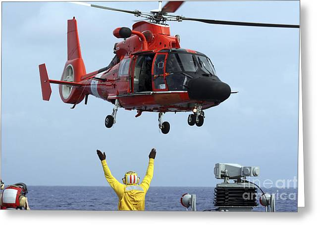 Law Enforcement Greeting Cards - Boatswain Mate Directs A Hh-65a Dolphin Greeting Card by Stocktrek Images