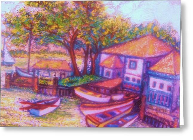 Boats In Water Mixed Media Greeting Cards - Boatyard Greeting Card by Gunter  Hortz
