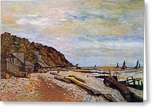 Yachting Greeting Cards - Boatyard near Honfleur Greeting Card by Claude Monet