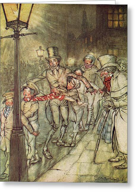 Arthur Rackham Greeting Cards - Bob Cratchit went down a slide on Cornhill Greeting Card by Arthur Rackham