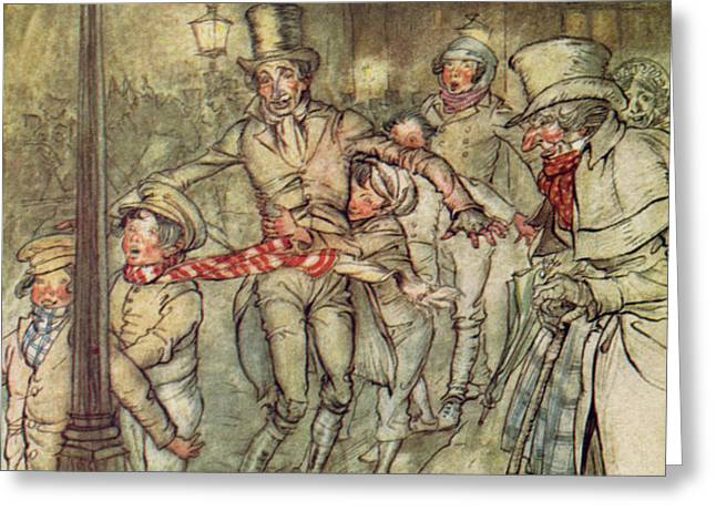 Bob Cratchit went down a slide on Cornhill Greeting Card by Arthur Rackham
