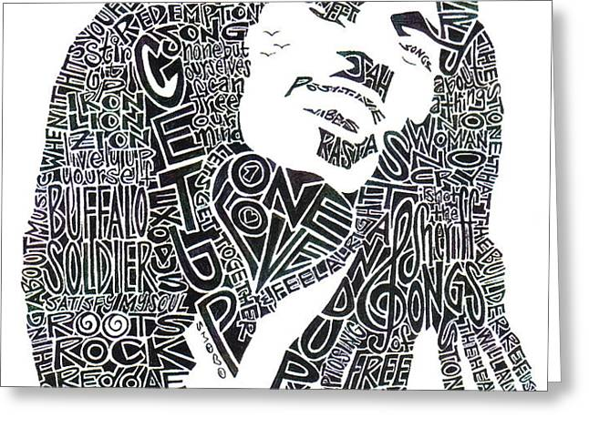Bob Marley Black and White Word Portrait Greeting Card by Kato Smock