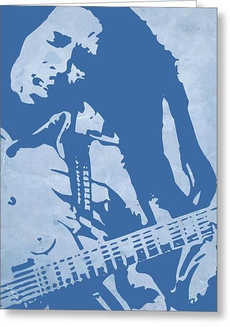 Jamaican Greeting Cards - Bob Marley Blue Greeting Card by Naxart Studio