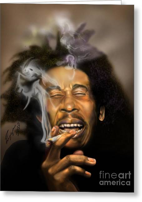 Super Stars Paintings Greeting Cards - Bob Marley-Burning Lights 3 Greeting Card by Reggie Duffie