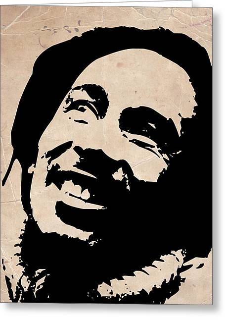 Jamaican Paintings Greeting Cards - Bob Marley Grey and Black Greeting Card by Naxart Studio