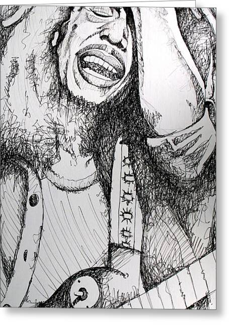 Famous Musicians Greeting Cards - Bob Marley in Ink Greeting Card by Joshua Morton