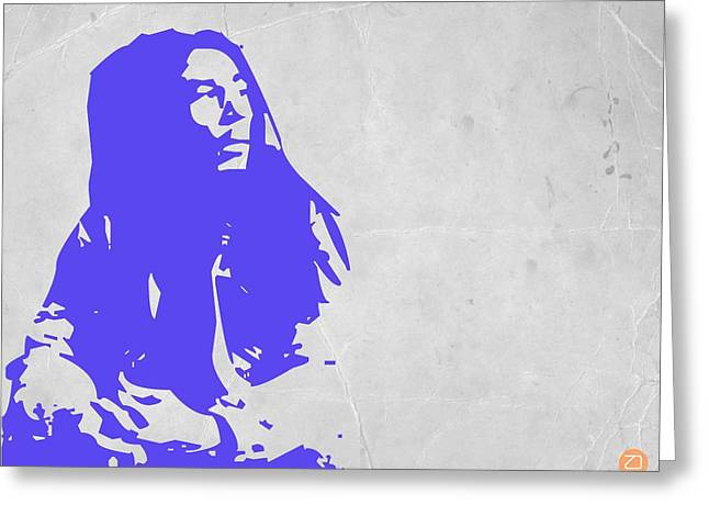 Jamaican Paintings Greeting Cards - Bob Marley Purple Greeting Card by Naxart Studio