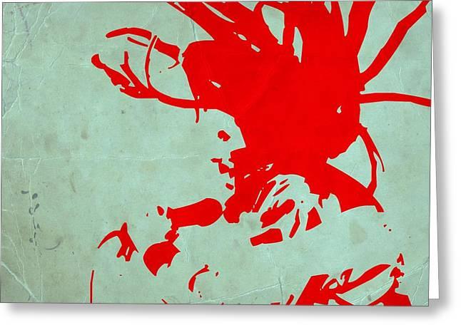 Bob Marley Red Greeting Card by Naxart Studio