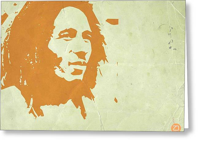 Jamaican Paintings Greeting Cards - Bob Marley Yellow 3 Greeting Card by Naxart Studio