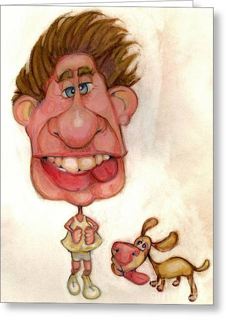 Caricature Mixed Media Greeting Cards - Bobblehead No 22 Greeting Card by Edward Ruth