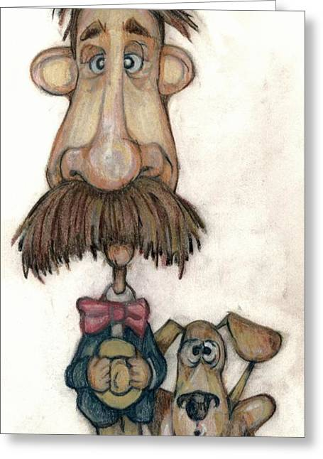 Caricature Mixed Media Greeting Cards - Bobblehead No 31 Greeting Card by Edward Ruth