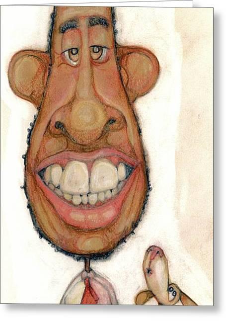 Humor Pastels Greeting Cards - Bobblehead No 47 Greeting Card by Edward Ruth