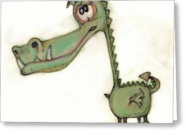 Humor Pastels Greeting Cards - Bobblehead No 50 Greeting Card by Edward Ruth