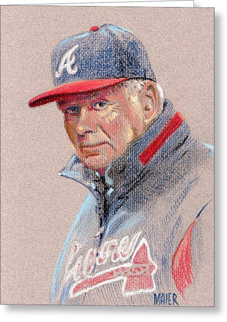 Bobby Greeting Cards - Bobby Cox Greeting Card by Donald Maier