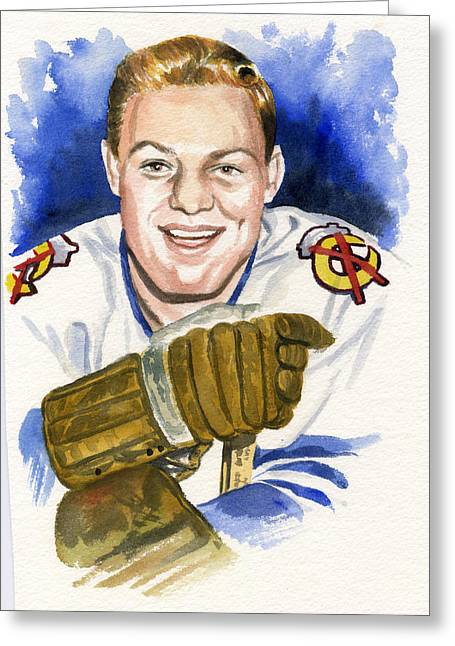 Hockey Paintings Greeting Cards - Bobby Hull Greeting Card by Ken Meyer jr