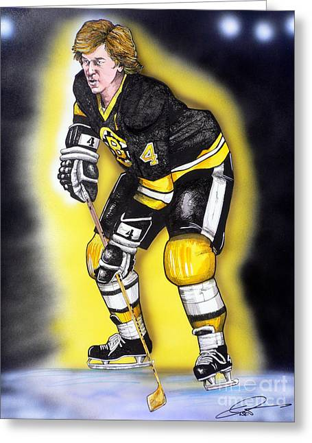 Hockey Paintings Greeting Cards - Bobby Orr Greeting Card by Dave Olsen