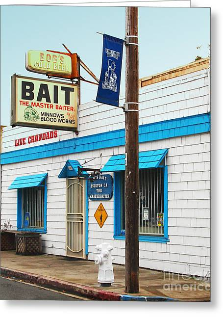 Fishing Bait Shop Greeting Cards - Bobs Bait Shop in Isleton California . The Master Baiter Greeting Card by Wingsdomain Art and Photography