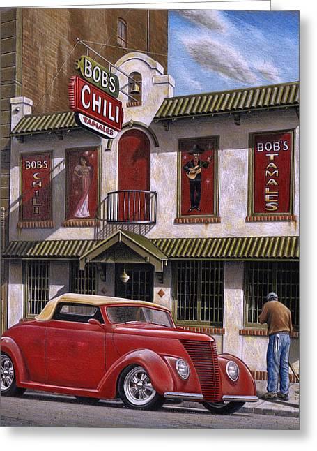 Chili Greeting Cards - Bobs Chili Parlor Greeting Card by Craig Shillam