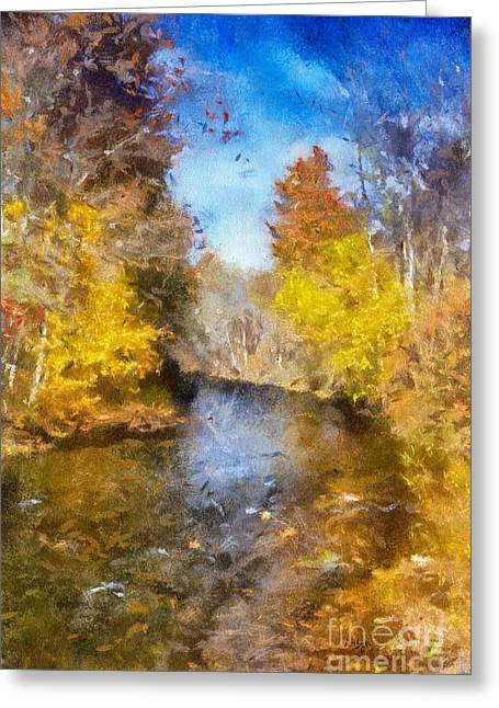 Stream Digital Greeting Cards - Bobs Creek From The Bridge Greeting Card by Lois Bryan