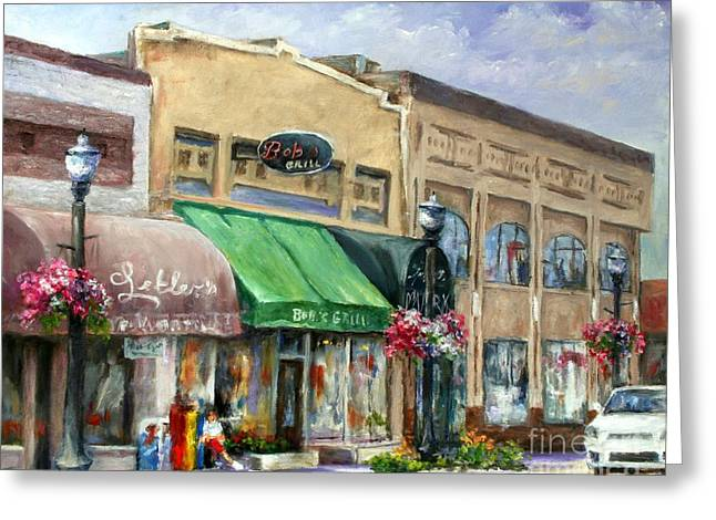 Bob's Grill Greeting Card by Virginia Potter
