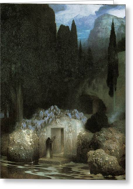 Cemetary Paintings Greeting Cards - Bocklins Tomb Greeting Card by Ferdinand Keller