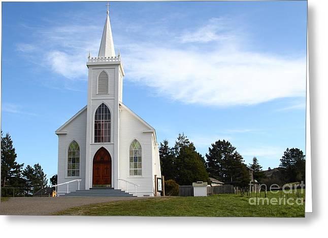 Horror Movies Photographs Greeting Cards - Bodega Catholic Church . Bodega Bay . Town of Bodega . 7D12437 Greeting Card by Wingsdomain Art and Photography