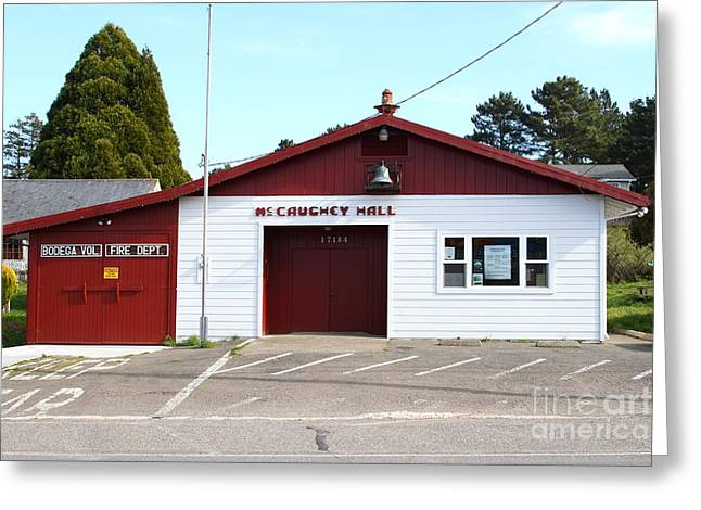 Horror Movies Photographs Greeting Cards - Bodega Volunteer Fire Department . Bodega Bay . Town of Bodega . California . 7D12450 Greeting Card by Wingsdomain Art and Photography