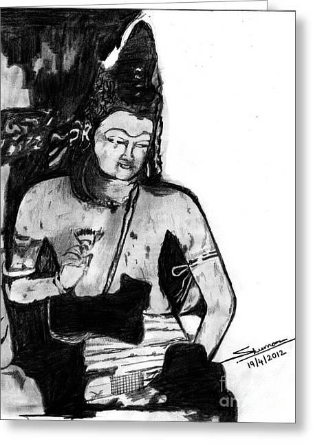 Shashi Kumar Greeting Cards - Bodhisatva Ajantha Cave Painting Greeting Card by Shashi Kumar