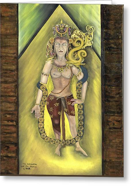 Bodhisatva And Makara Greeting Card by Michael Rowley