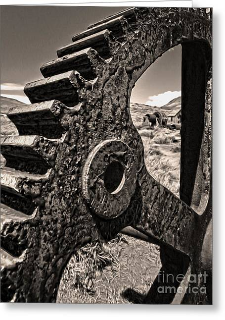 Gregory Dyer Greeting Cards - Bodie Ghost Town - Rusted Gear Greeting Card by Gregory Dyer